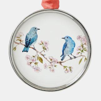 Mountain Bluebirds on Sakura Branch Metal Ornament