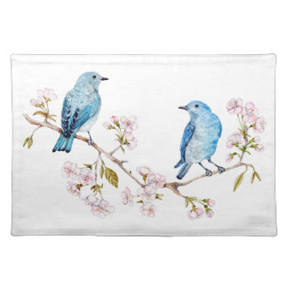 Mountain Bluebirds on Sakura Branch Placemat