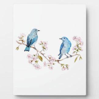Mountain Bluebirds on Sakura Branch Plaque