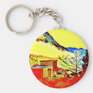 Mountain Cabin Basic Round Button Keychain