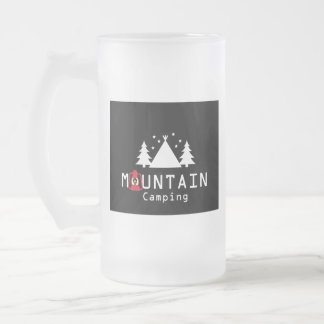mountain camping frosted glass beer mug