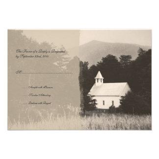 Mountain Church Vintage Wedding Invitation RSVP