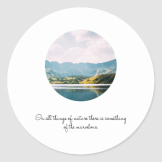 Mountain Circle Photo Inspirational Quote Classic Round Sticker