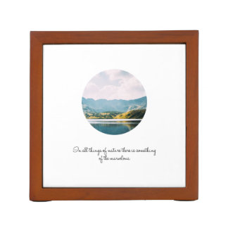 Mountain Circle Photo Inspirational Quote Desk Organizer