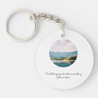 Mountain Circle Photo Inspirational Quote Keychain