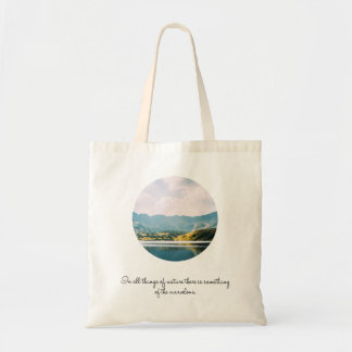 Mountain Circle Photo Inspirational Quote Tote Bag