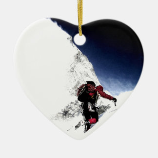 Mountain Climber Extreme Sports Ceramic Heart Ornament