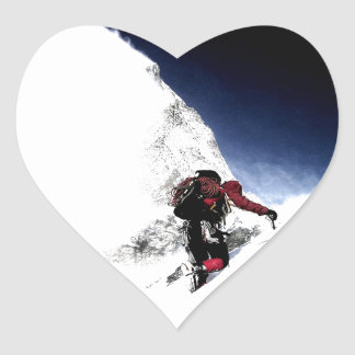 Mountain Climber Extreme Sports Heart Sticker