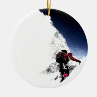 Mountain Climber Extreme Sports Round Ceramic Ornament