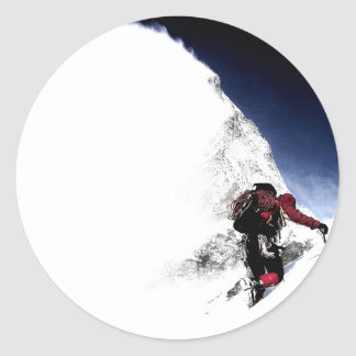 Mountain Climber Extreme Sports Round Sticker