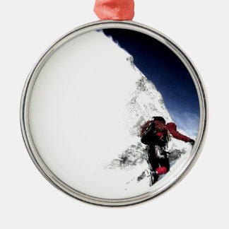 Mountain Climber Extreme Sports Silver-Colored Round Ornament