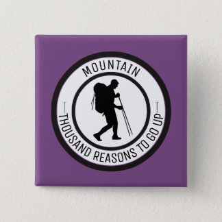 Mountain climbing 2 inch square button