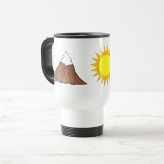 Mountain Climbing Camping Sun Woods Pine Tree Travel Mug