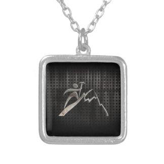 Mountain Climbing; Cool Black Square Pendant Necklace