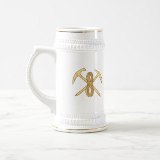 Mountain Climbing Pick Axe Rope Crossed Drawing Beer Stein