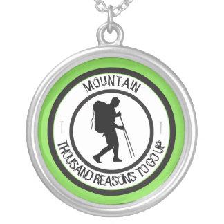 Mountain climbing silver plated necklace