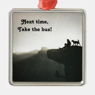 Mountain climbing Yosemite motivation and humor Silver-Colored Square Ornament