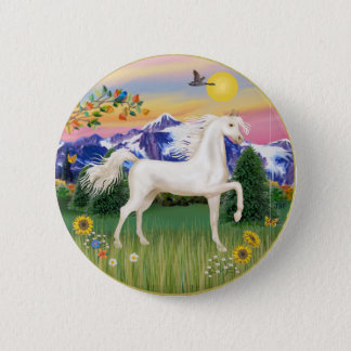 Mountain Country - White Arabian Horse 2 Inch Round Button