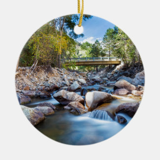 Mountain Creek Bridge Round Ceramic Ornament