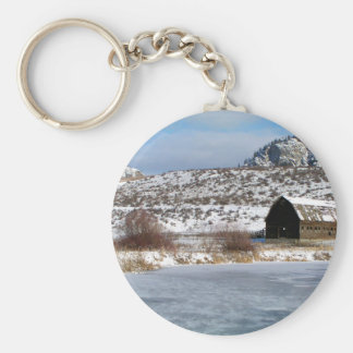 Mountain farm in winter basic round button keychain