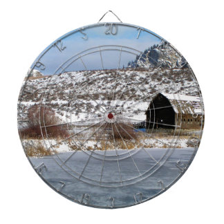 Mountain farm in winter dart board