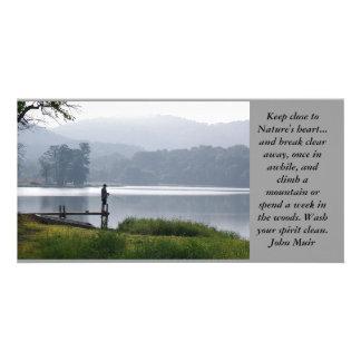 Mountain Fisherman Custom Photo Card