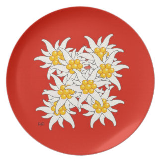 Mountain flower edelweiss plate
