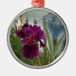 Mountain Flowers Silver-Colored Round Ornament