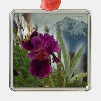 Mountain Flowers Silver-Colored Square Ornament