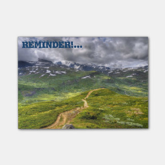 Mountain footpath post-it notes