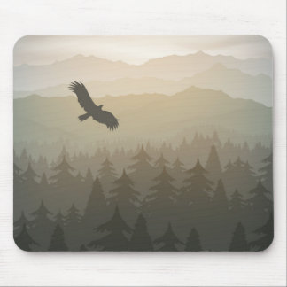 mountain forest in fog and sunrise with stars mouse pad