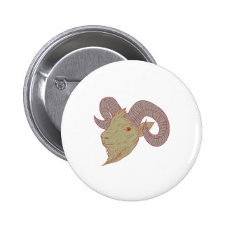 Mountain Goat Ram Head Drawing 2 Inch Round Button