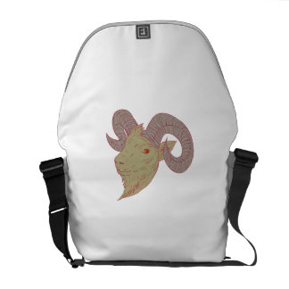 Mountain Goat Ram Head Drawing Messenger Bags