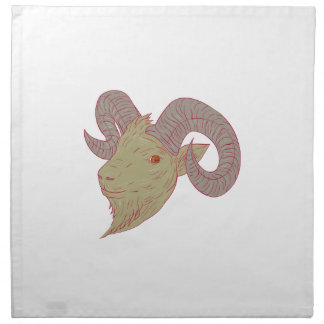 Mountain Goat Ram Head Drawing Napkin