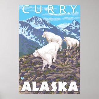 Mountain Goats Scene - Curry, Alaska Poster