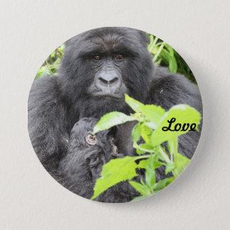 Mountain Gorilla Mother & Infant 3 Inch Round Button