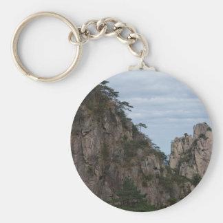 mountain hill tree basic round button keychain