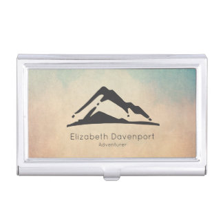 Mountain Illustration in Black Minimalist Business Card Holder
