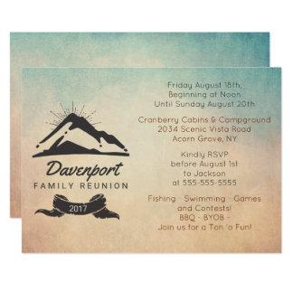 Mountain Illustration Rustic Family Reunion Invite