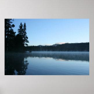Mountain Lake, Dawn, Mist Poster