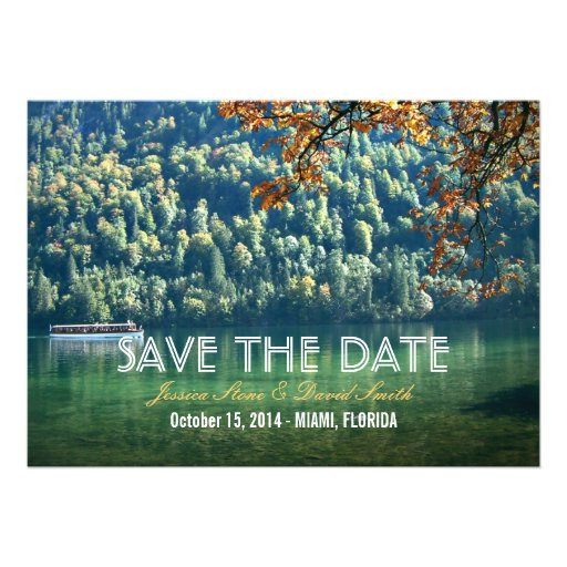 Mountain Lake Fall Wedding Save the Date Cards