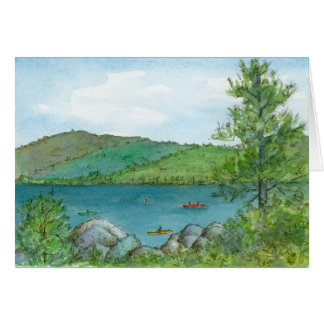 Mountain Lake Kayaking Watercolor Lanscape Art Card