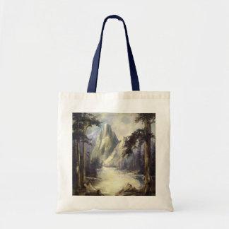 Mountain Lake Landscape Canvas Tote Bag