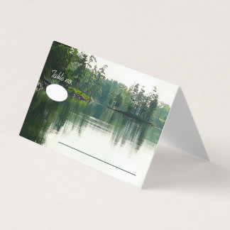 Mountain Lake Reflection rustic wedding guests Card
