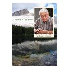 Mountain Lake Scene Memorial Card with Photo