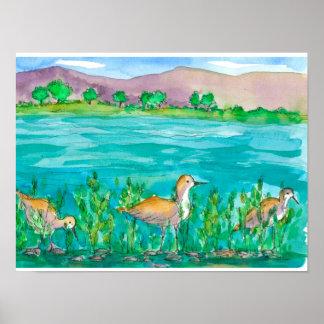 Mountain Lake Shore Birds Watercolor Poster