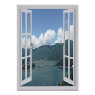 Mountain Lake Trompe l'oeil Faux Window Poster