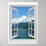 Mountain Lake View Trompe l'oeil Fake Window Poster