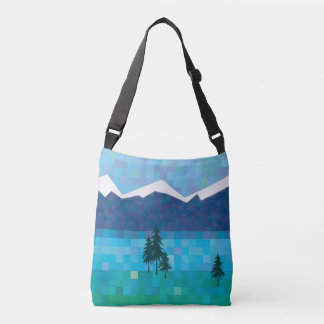 Mountain lakes, pine trees and snowy peaks crossbody bag