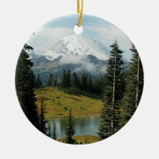 Mountain Landscape Photo Ceramic Ornament